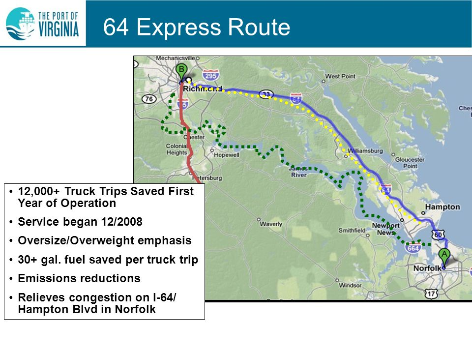 64 Express Route 12,000+ Truck Trips Saved First Year of Operation Service began 12/2008 Oversize/Overweight emphasis 30+ gal.