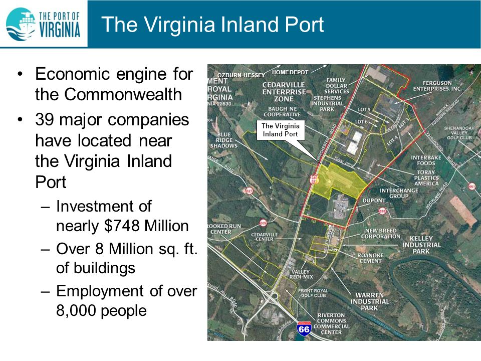 The Virginia Inland Port Economic engine for the Commonwealth 39 major companies have located near the Virginia Inland Port –Investment of nearly $748 Million –Over 8 Million sq.