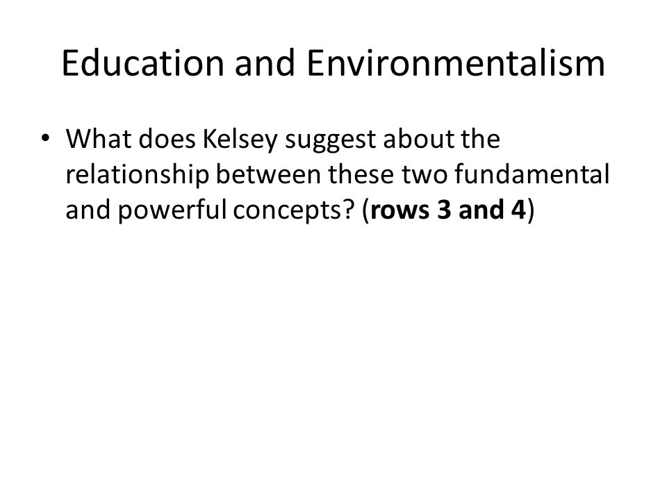 Education and Environmentalism What does Kelsey suggest about the relationship between these two fundamental and powerful concepts.