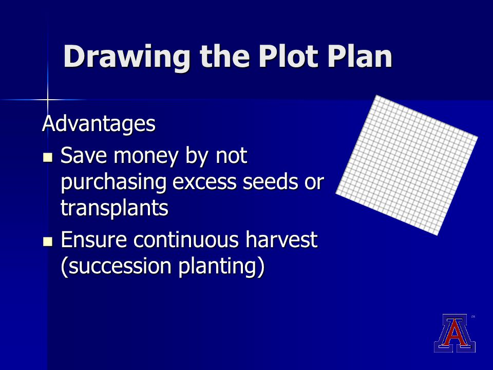 Drawing the Plot Plan Advantages Save money by not purchasing excess seeds or transplants Save money by not purchasing excess seeds or transplants Ensure continuous harvest (succession planting) Ensure continuous harvest (succession planting)