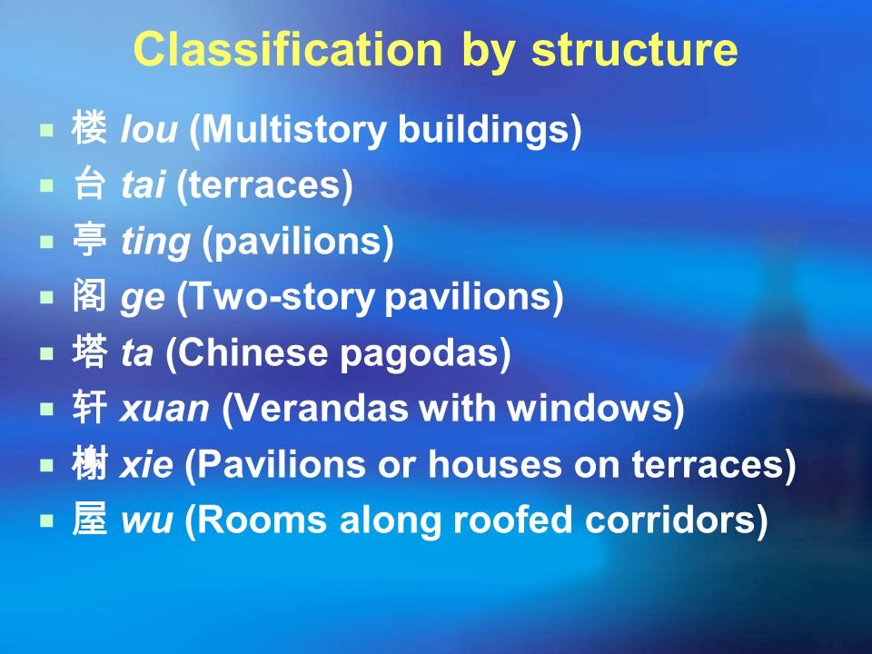 Classification by structure  楼 lou (Multistory buildings)  台 tai (terraces)  亭 ting (pavilions)  阁 ge (Two-story pavilions)  塔 ta (Chinese pagoda