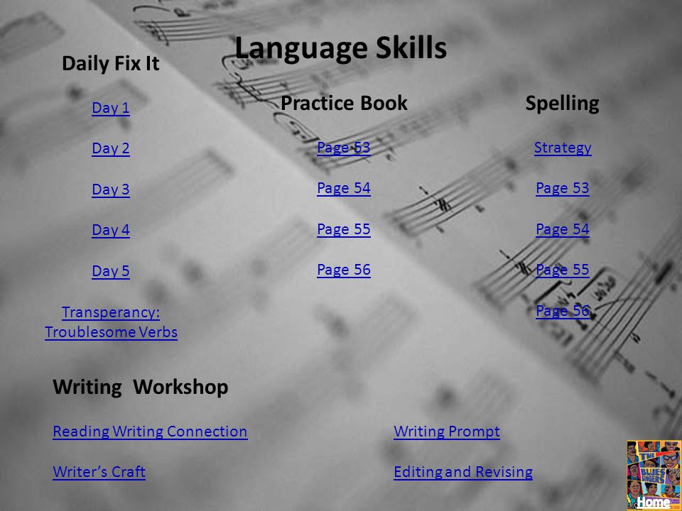 Language Skills Daily Fix It Day 1 Day 2 Day 3 Day 4 Day 5 Transperancy: Troublesome Verbs Practice Book Page 53 Page 54 Page 55 Page 56 Spelling Stra