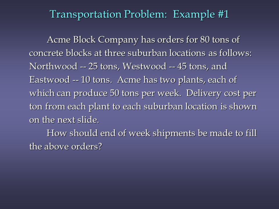 Transportation Problem: Example #1 Acme Block Company has orders for 80 tons of concrete blocks at three suburban locations as follows: Northwood -- 25 tons, Westwood -- 45 tons, and Eastwood -- 10 tons.