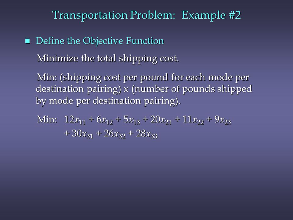 n Define the Objective Function Minimize the total shipping cost.