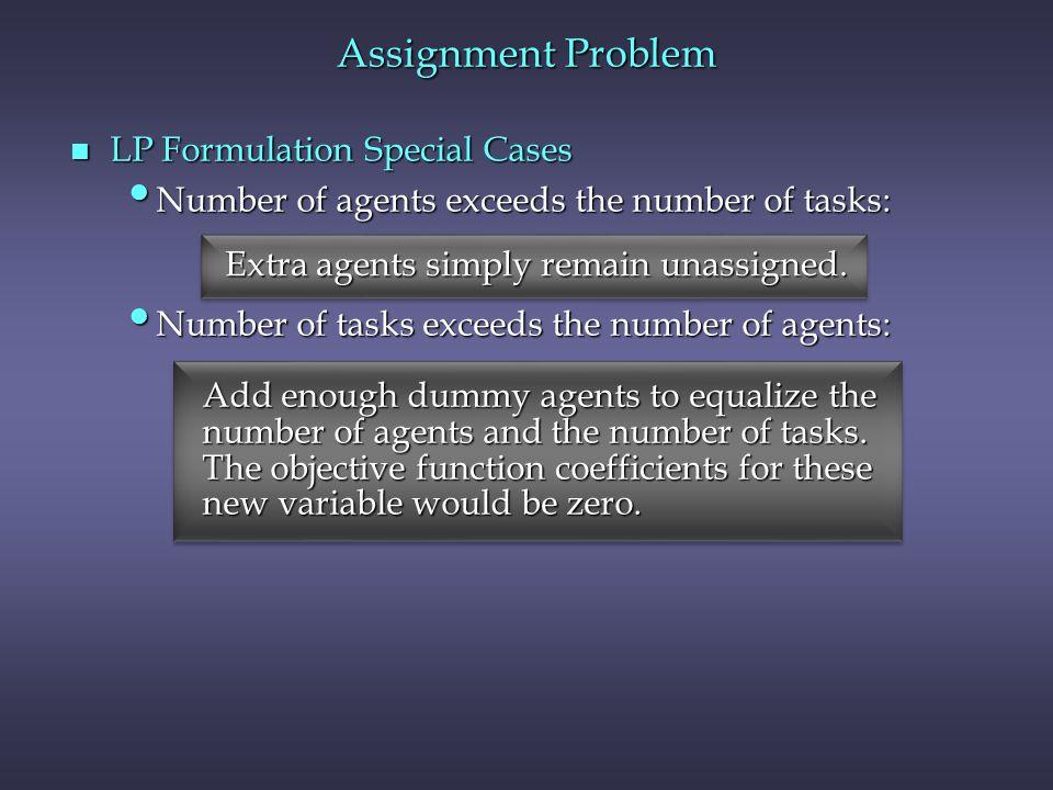 n LP Formulation Special Cases Number of agents exceeds the number of tasks: Number of agents exceeds the number of tasks: Number of tasks exceeds the