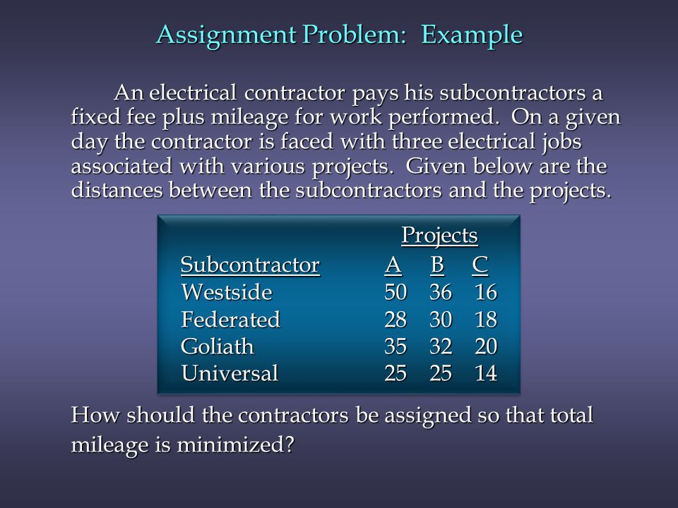 An electrical contractor pays his subcontractors a fixed fee plus mileage for work performed.