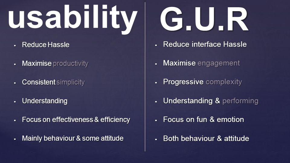 G.U.R  Reduce Hassle  Maximise productivity  Consistent simplicity  Understanding  Focus on effectiveness & efficiency  Mainly behaviour & some
