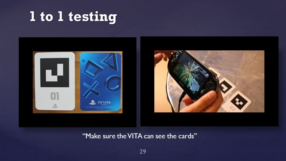 "1 to 1 testing 29 ""Make sure the VITA can see the cards"""
