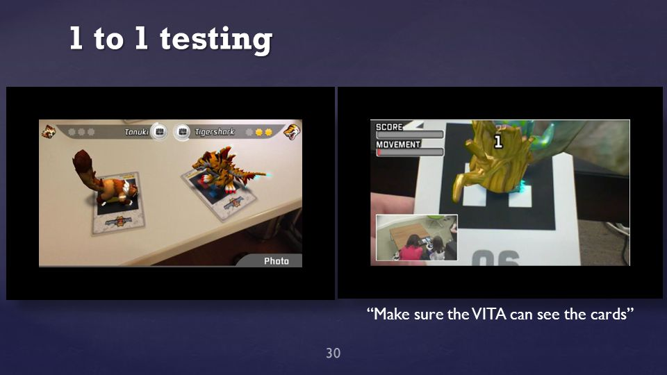 "1 to 1 testing 30 ""Make sure the VITA can see the cards"""