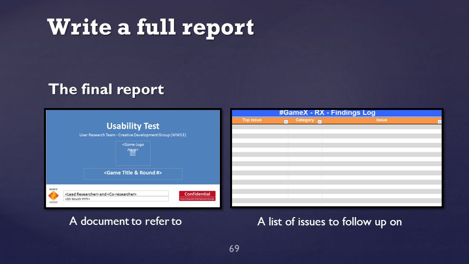 Write a full report 69 The final report A document to refer to A list of issues to follow up on
