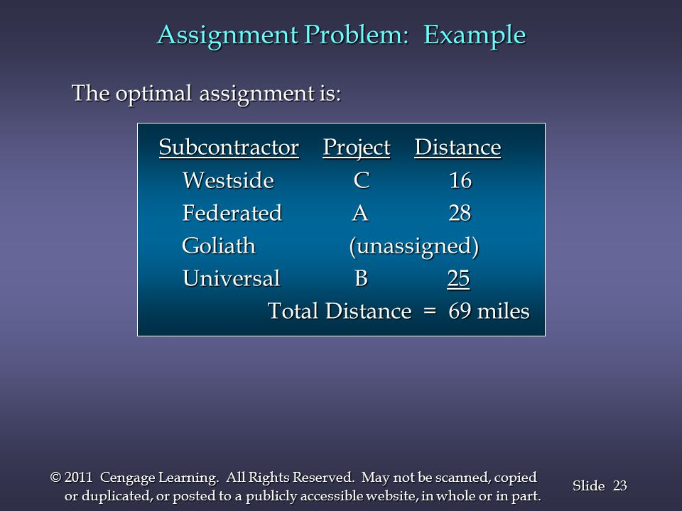 23 Slide © 2011 Cengage Learning. All Rights Reserved.