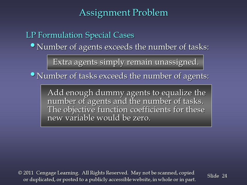 24 Slide © 2011 Cengage Learning. All Rights Reserved.