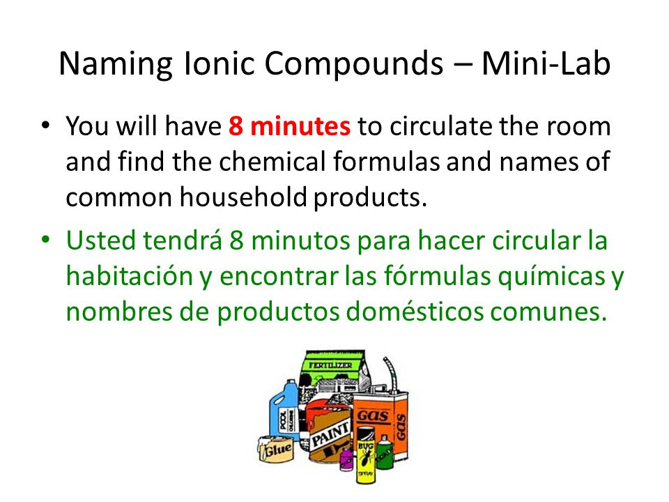 Naming Ionic Compounds – Mini-Lab You will have 8 minutes to circulate the room and find the chemical formulas and names of common household products.
