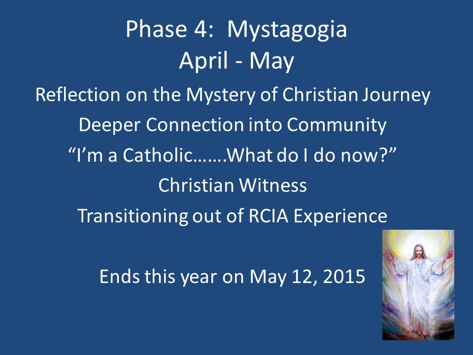 Phase 4: Mystagogia April - May Reflection on the Mystery of Christian Journey Deeper Connection into Community I'm a Catholic…….What do I do now? Christian Witness Transitioning out of RCIA Experience Ends this year on May 12, 2015