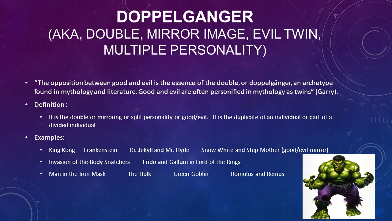 "DOPPELGANGER (AKA, DOUBLE, MIRROR IMAGE, EVIL TWIN, MULTIPLE PERSONALITY) ""The opposition between good and evil is the essence of the double, or doppe"