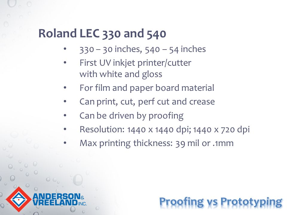 Roland LEC 330 and 540 330 – 30 inches, 540 – 54 inches First UV inkjet printer/cutter with white and gloss For film and paper board material Can prin