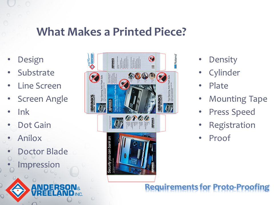 What Makes a Printed Piece? Design Substrate Line Screen Screen Angle Ink Dot Gain Anilox Doctor Blade Impression Density Cylinder Plate Mounting Tape