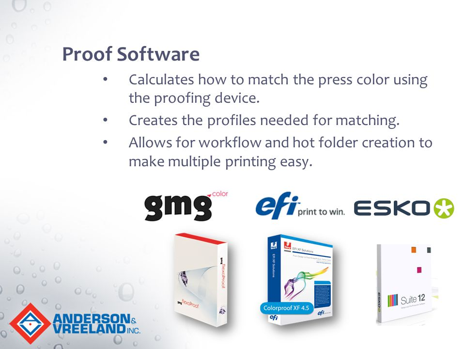 Proof Software Calculates how to match the press color using the proofing device. Creates the profiles needed for matching. Allows for workflow and ho