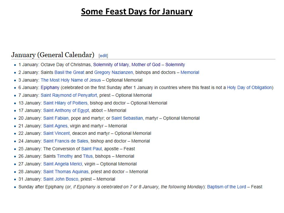 Some Feast Days for January