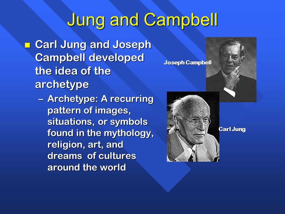 Jung and Campbell n Carl Jung and Joseph Campbell developed the idea of the archetype –Archetype: A recurring pattern of images, situations, or symbol