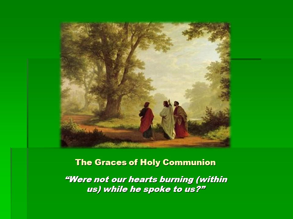 "The Graces of Holy Communion ""Were not our hearts burning (within us) while he spoke to us?"""
