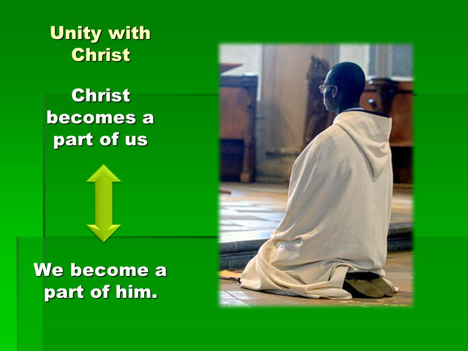 Unity with Christ Christ becomes a part of us We become a part of him.
