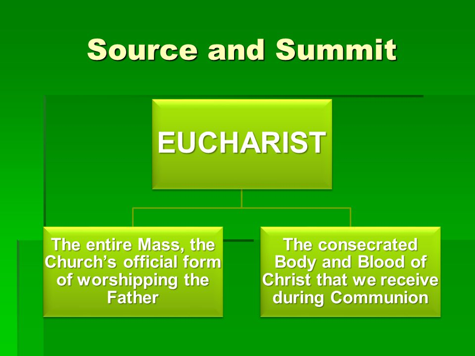 Source and Summit EUCHARIST The entire Mass, the Church's official form of worshipping the Father The consecrated Body and Blood of Christ that we rec