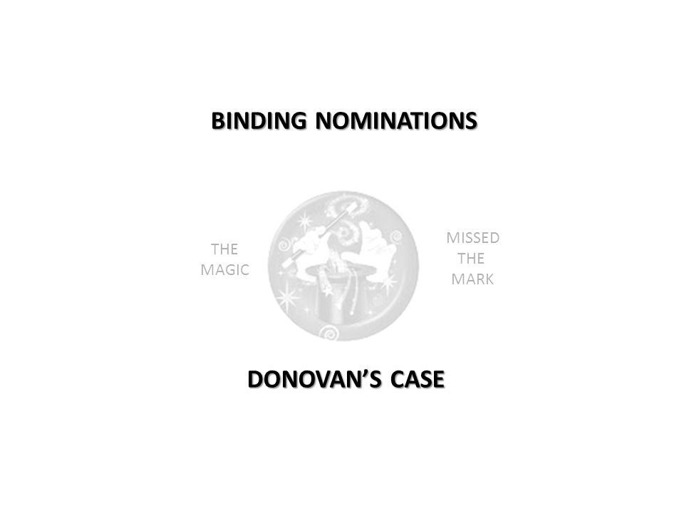 BINDING NOMINATIONS DONOVAN'S CASE THE MAGIC MISSED THE MARK