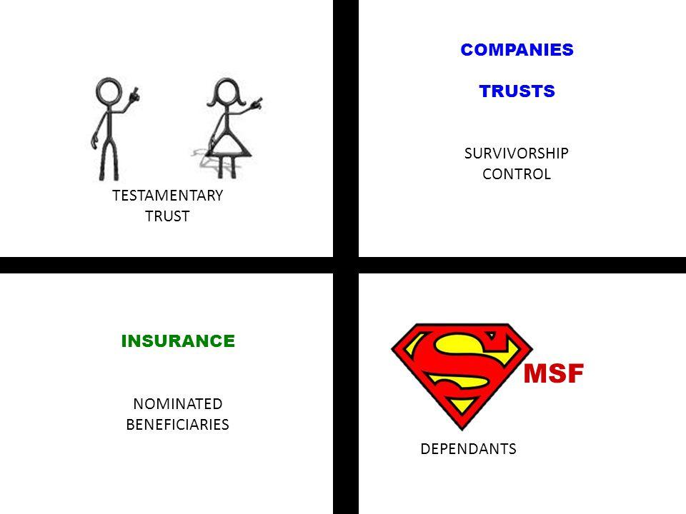 XXXXXXXXXXXXXXXXXXXXXXXXXXXXXXXXXXXXXXXXXXXXXXXXXXXXXXXXXXXXXXXXXXXXXXXXXXXXXXXXXXXXXXXXXXXXXXXXXXXXXXXXXXXXXXXXXXXXXXXXXXXXXXXXX COMPANIES TRUSTS SURVIVORSHIP CONTROL INSURANCE NOMINATED BENEFICIARIES MSF TESTAMENTARY TRUST DEPENDANTS