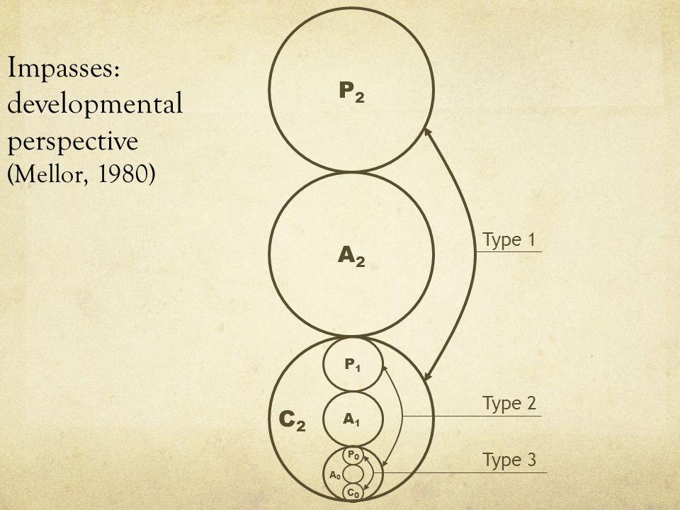 Impasses: developmental perspective (Mellor, 1980) P2P2 A2A2 A1A1 P1P1 A0A0 P0P0 C0C0 Type 1 Type 2 Type 3 C2C2