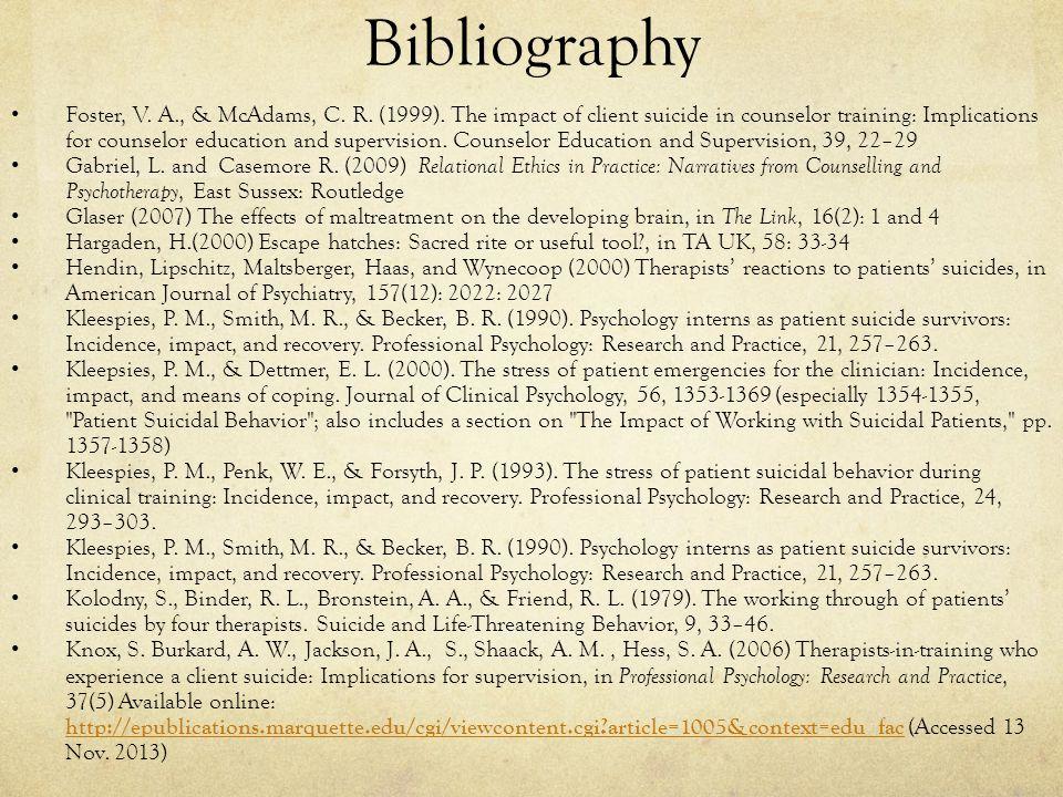 Bibliography Foster, V. A., & McAdams, C. R. (1999).