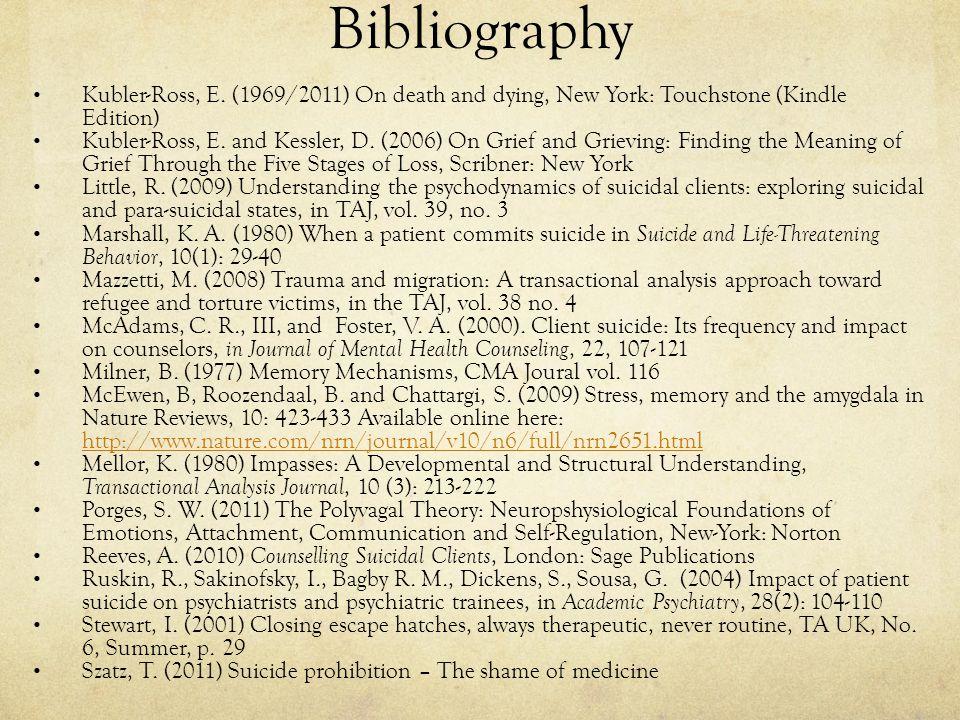 Bibliography Kubler-Ross, E.