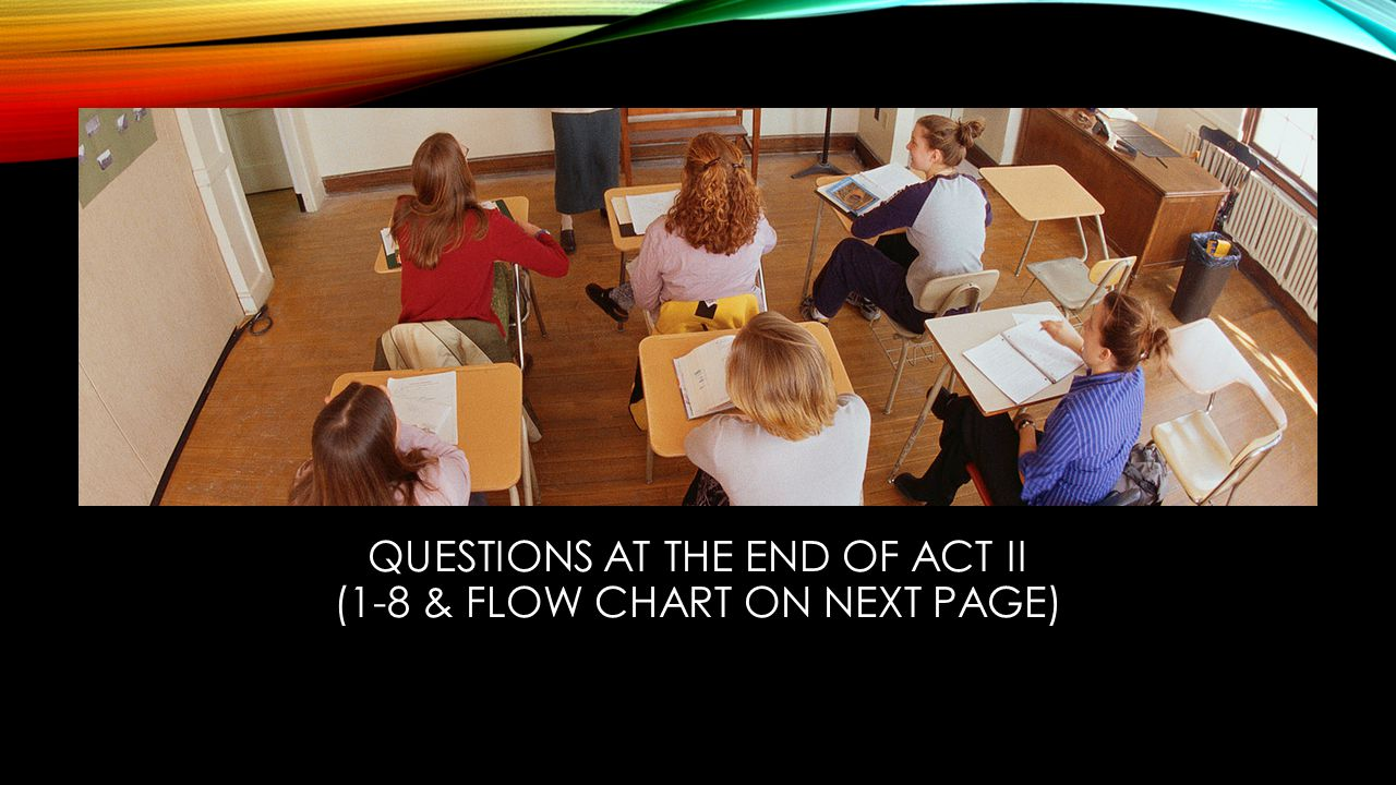QUESTIONS AT THE END OF ACT II (1-8 & FLOW CHART ON NEXT PAGE)