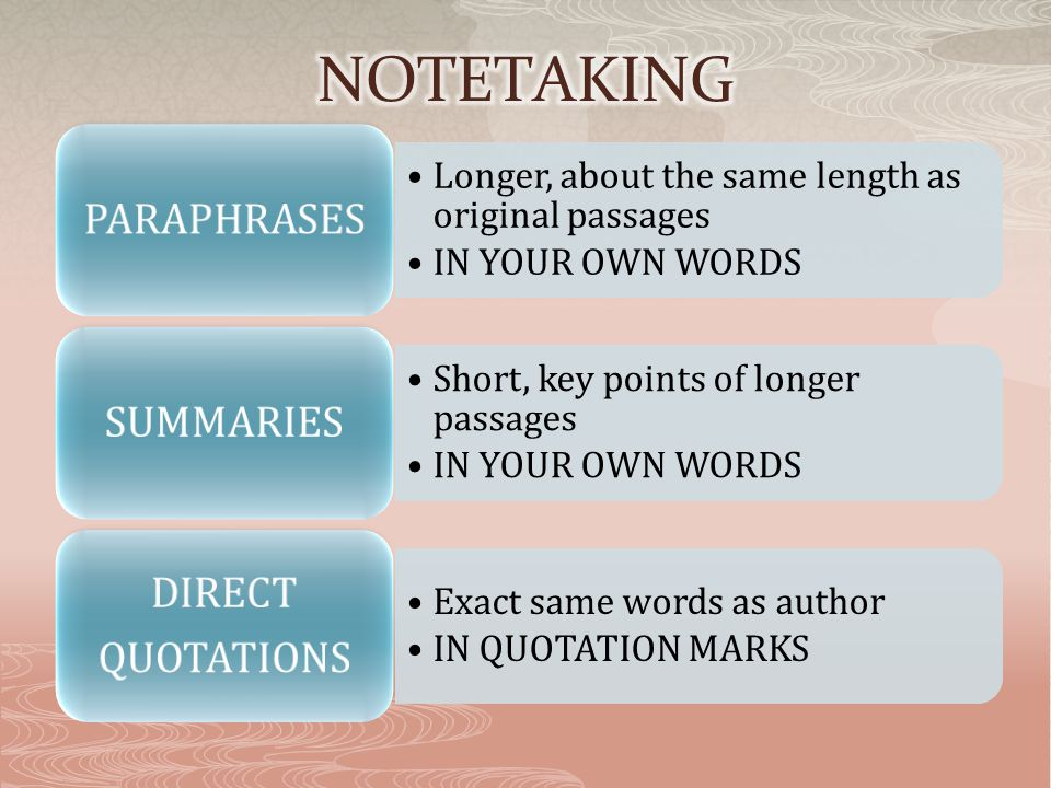 Longer, about the same length as original passages IN YOUR OWN WORDS PARAPHRASES Short, key points of longer passages IN YOUR OWN WORDS SUMMARIES Exact same words as author IN QUOTATION MARKS DIRECT QUOTATIONS