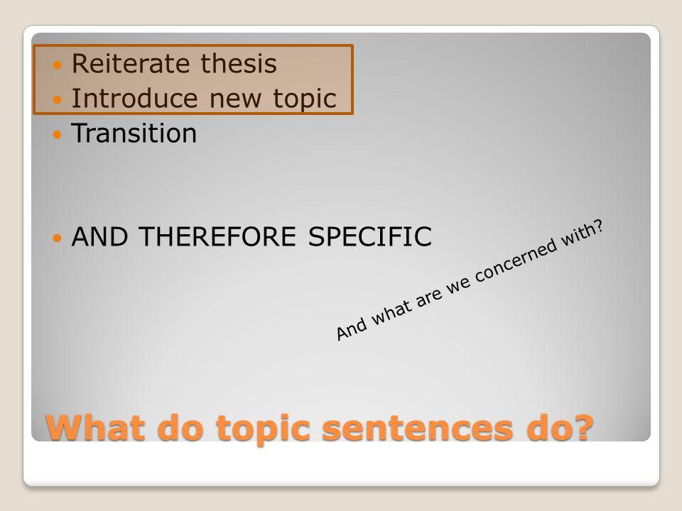 What do topic sentences do.