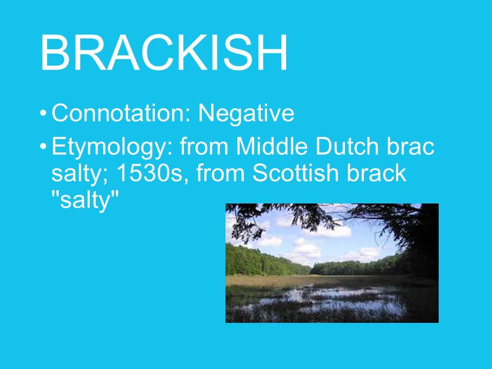 BRACKISH Connotation: Negative Etymology: from Middle Dutch brac salty; 1530s, from Scottish brack salty
