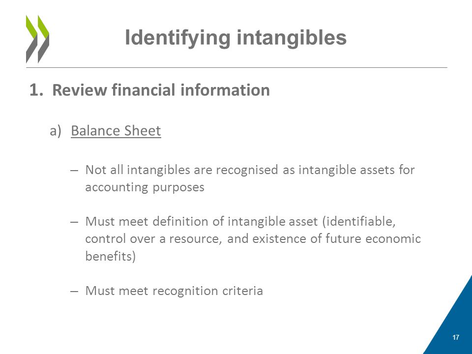 Identifying intangibles 1. Review financial information a)Balance Sheet – Not all intangibles are recognised as intangible assets for accounting purpo