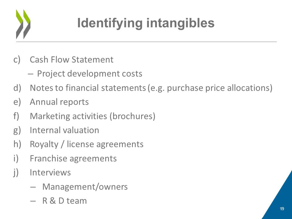 c) Cash Flow Statement – Project development costs d)Notes to financial statements (e.g. purchase price allocations) e) Annual reports f) Marketing ac