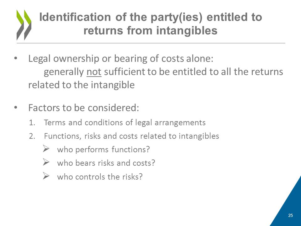 Identification of the party(ies) entitled to returns from intangibles Legal ownership or bearing of costs alone: generally not sufficient to be entitl