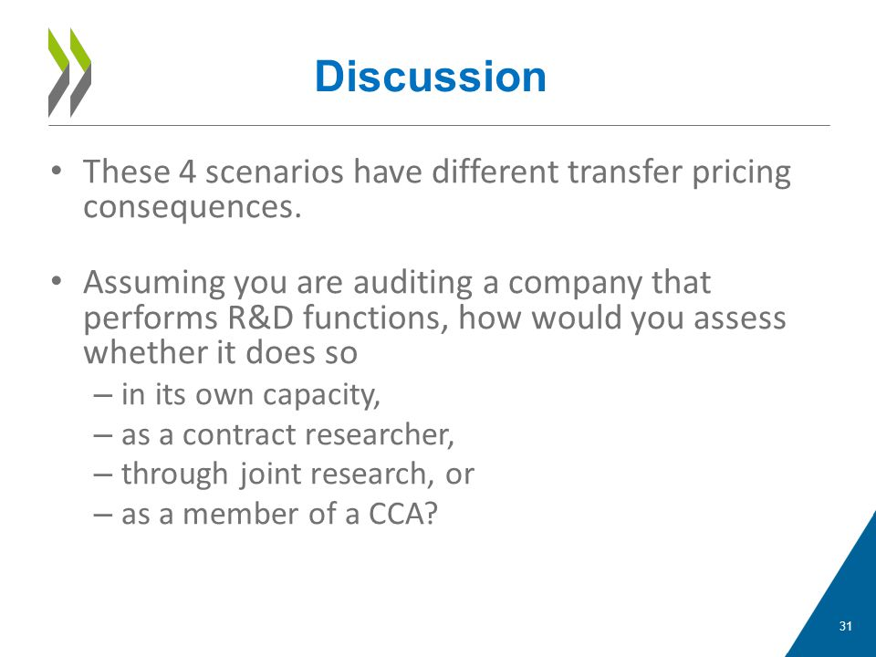 These 4 scenarios have different transfer pricing consequences. Assuming you are auditing a company that performs R&D functions, how would you assess