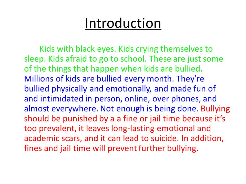 Introduction Kids with black eyes.Kids crying themselves to sleep.