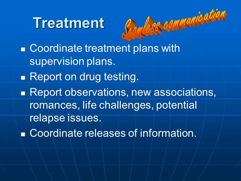 Treatment Coordinate treatment plans with supervision plans.