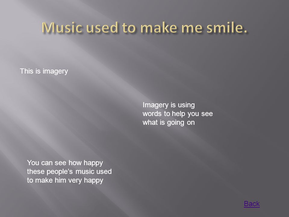 This is imagery Imagery is using words to help you see what is going on You can see how happy these people's music used to make him very happy Back