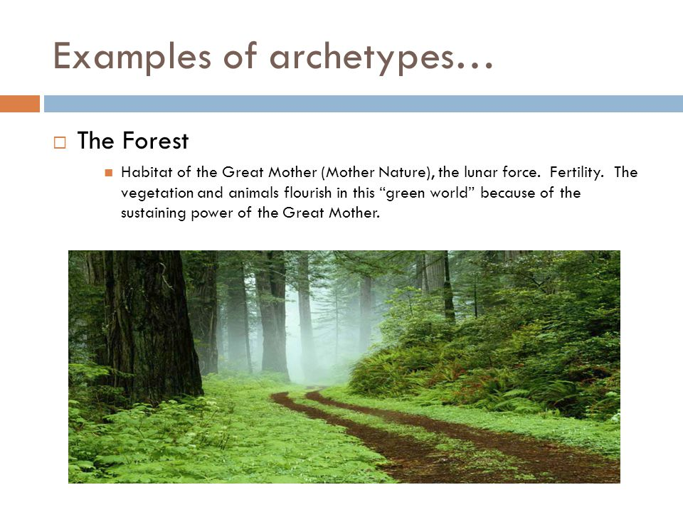 Examples of archetypes…  The Forest Habitat of the Great Mother (Mother Nature), the lunar force.