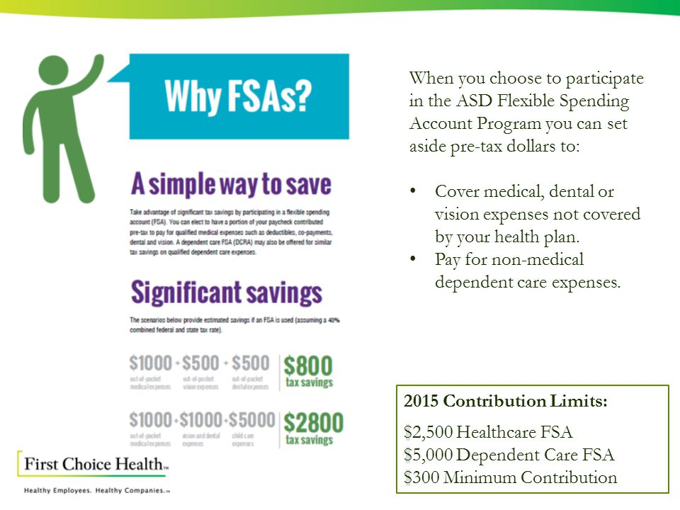 When you choose to participate in the ASD Flexible Spending Account Program you can set aside pre-tax dollars to: Cover medical, dental or vision expenses not covered by your health plan.