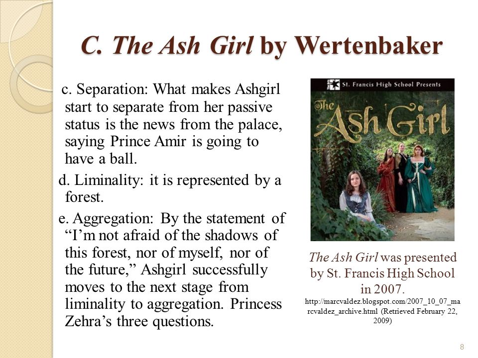 C.The Ash Girl by Wertenbaker 2. The Ash Girl: The Strategy of Filling the Void a.