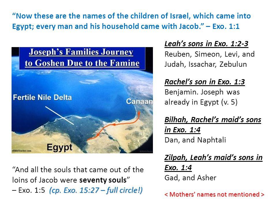 Leah's sons in Exo. 1:2-3 Reuben, Simeon, Levi, and Judah, Issachar, Zebulun Rachel's son in Exo. 1:3 Benjamin. Joseph was already in Egypt (v. 5) Bil
