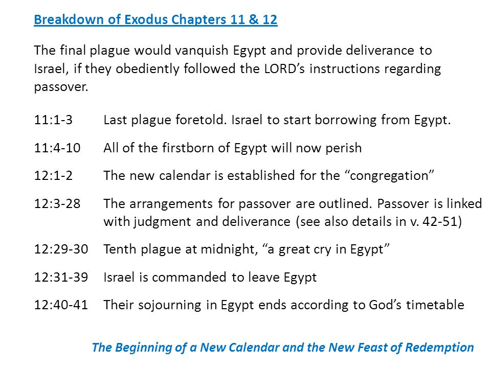 Breakdown of Exodus Chapters 11 & 12 The final plague would vanquish Egypt and provide deliverance to Israel, if they obediently followed the LORD's instructions regarding passover.