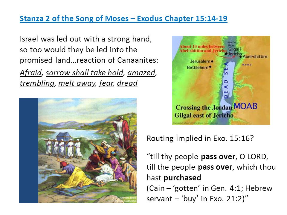 Stanza 2 of the Song of Moses – Exodus Chapter 15:14-19 Israel was led out with a strong hand, so too would they be led into the promised land…reaction of Canaanites: Afraid, sorrow shall take hold, amazed, trembling, melt away, fear, dread Routing implied in Exo.