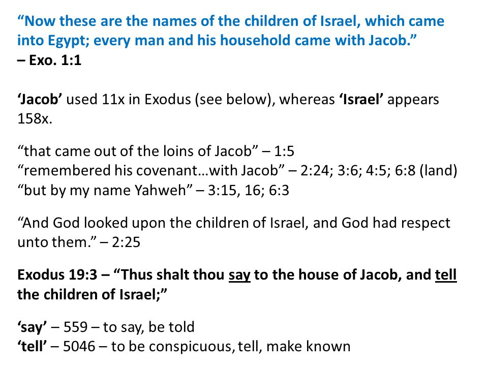 Now these are the names of the children of Israel, which came into Egypt; every man and his household came with Jacob. – Exo.